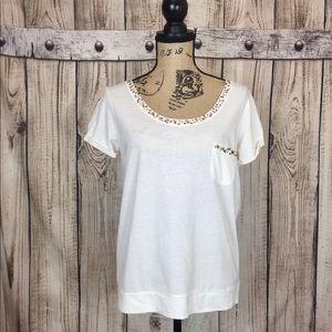 Jessica Simpson White Embellished Blouse Medium